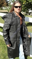 Mens Black Leather Full Length Split Motorcycle Duster Trench Coat