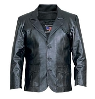 Allstate Mens 3 Button Black Lamb Skin Leather Blazer Jacket