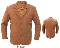 Allstate Men's Brown Leather 3 Button Blazer Jacket