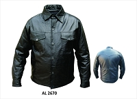 Allstate Mens Western Style Black Lamb Skin Leather Shirt