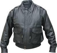 Allstate Mens Black Vented Leather Bomber Jacket