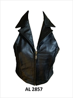 Ladies Black Lambskin Leather Halter Top w Collar & Zip Front