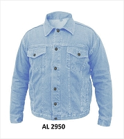 Mens Blue Denim Cotton Button Down Shirt Jacket w Chest Pockets