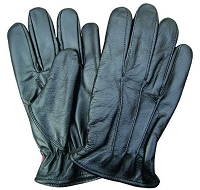 Womens Black Lined Leather Driving Gloves w Elastic Wrist