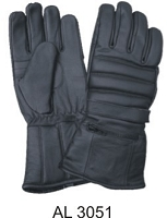 Allstate Mens Black Leather Padded Riding Gloves w Rain Cover