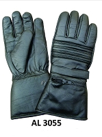 Allstate Mens Black Leather Padded Riding Gloves w Adjustable Tab