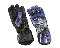 Mens Black / Blue Leather Riding Gloves w Armored Knuckles