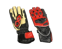 Mens Black / Red / Yellow Leather Riding Gloves w Armored Knuckles