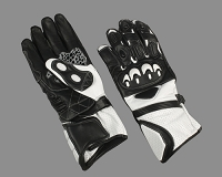Mens Black / White Leather Riding Gloves w Armored Knuckles