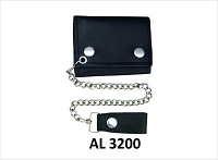 Allstate Black Leather Tri-fold Chain Wallet