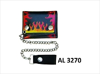 Black Leather Tri-Fold Chain Wallet w Red & Yellow Flames