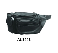 Black Leather Fanny Bag / Waist Pack  w cell phone pocket.