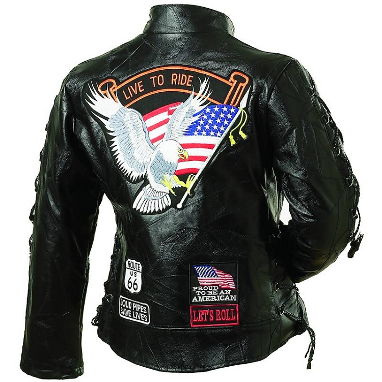 Ladies Black Leather Motorcycle Biker Jacket With Eagle USA Flag Patch