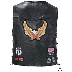 Mens Water Buffalo Black Leather Motorcycle Biker Vest Eagle Patch