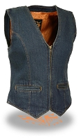 Ladies Zippered Front Blue Denim Vest w V Neck Collar