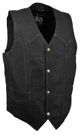 Mens Classic Front Snap Black Denim Vest