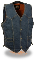 Mens Classic Front Snap Blue Denim Vest Side Laces