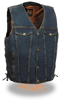 Mens Side Lace Blue Denim 4 Snap Vest with Chest Pockets