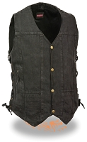 Mens 10 Pocket Side Lace Black Denim Vest w Gun Pocket