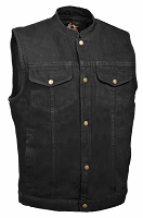 Mens Front Snap Black Denim Vest w Gun Pocket