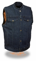 Mens Front Snap Blue Denim Vest w Gun Pocket