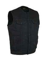 Mens Collarless Concealed Snap / Zipper Black Denim Vest
