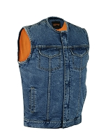 Mens Collarless Concealed Snap / Zipper Blue Denim Vest