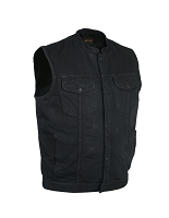 Mens Concealed Snap and Zipper Black Denim Vest with Scoop Collar