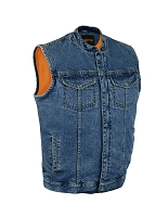 Mens Concealed Snap and Zipper Blue Denim Vest with Scoop Collar