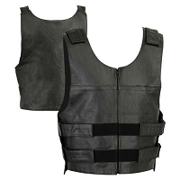 Mens Black Leather Police Style Vest w Single Back Panel