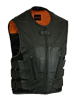 Mens Updated Black Leather SWAT Club Style Vest