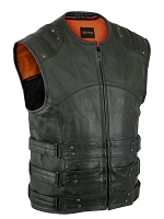 Mens Black Leather Updated  SWAT Style Vest w Gun Pockets
