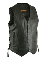 Mens Black Leather 10 Pocket Utility Style Vest w Side Lace