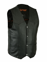 Mens Black Leather Traditional 4 Snap Vest w Single Back Panel