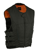 Mens Black Polyester Updated SWAT Style Vest w Gun Pockets