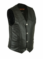 Mens Traditional Black Leather Vest with Single Back Panel