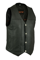 Mens Black Leather 4 Snap Vest Single Back Panel
