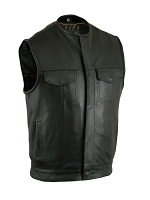 Mens Milled Cowhide Black Leather Vest, Hidden Zipper, w/o Collar