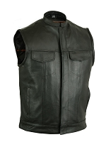 Mens Black Milled Cowhide Leather SOA Scoop Collar Style Vest w Concealed Zipper