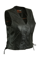 Womens Black Leather Biker Vest w Single Back Panel, Side Lace