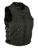 Womens Black Updated Textile SWAT Style Biker Vest