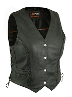 Womens Black Braided Leather Biker Vest w Side Lace