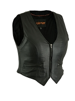 Womens Black Stylish Lightweight Lambskin Leather Biker Vest