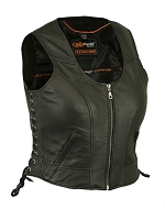 Womens Black Lightweight Lambskin Leather Biker Vest w Side Lace