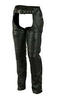 Unisex Black Premium Leather Deep Pocket Insulated Unisex Chaps