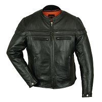 Mens Black Leather Sporty Vented Scooter Jacket w Zipout Liner