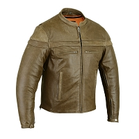 Mens Brown Leather Sporty Vented Scooter Jacket w Zipout Liner