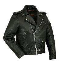 Mens Old School Classic Half Belt Black Leather Biker Jacket w Zipout Liner
