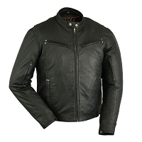 Mens Light Weight Black Leather Sporty Vented Scooter Jacket, Lamb Skin