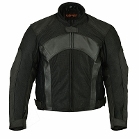 Mens Black Mesh / Leather Combo Padded Jacket w Zipout Liner